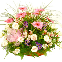 Passionate Basket with Floral Arrangement for Celebration