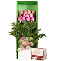 Affectionate V-Day Combo of Belgian Truffles Chocolate with One Dozen Gold Roses Gift Box<br>